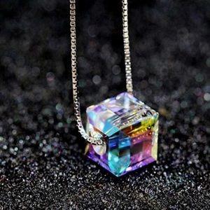 Colorful cube pendant necklace